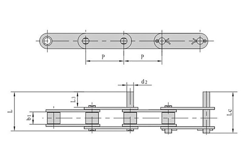 不锈钢双节距加长销轴输送链
