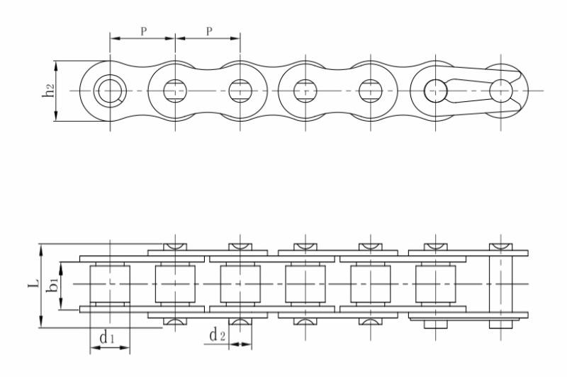 不锈钢短节距精密滚子链B系列